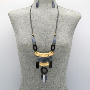 Jewelry - Grey, Black and Gold Fringe Long Necklace Set